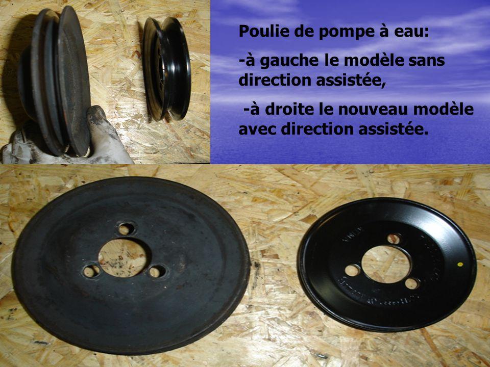 Poulie de pompe à eau: -à gauche le modèle sans direction assistée, -à droite le nouveau modèle avec direction assistée.