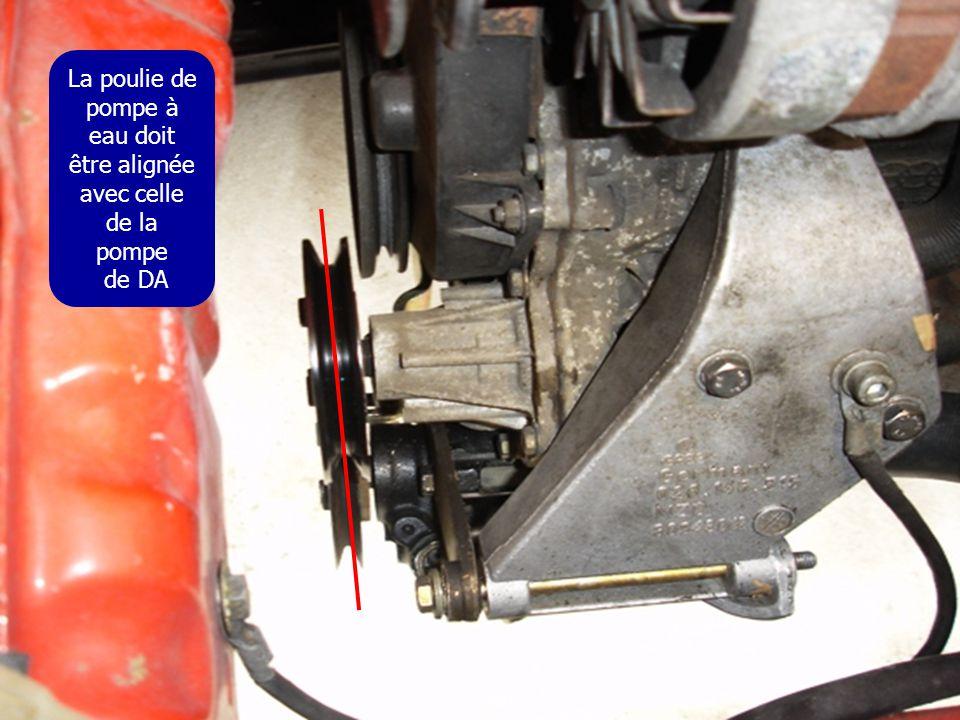 La poulie de pompe à eau doit être alignée avec celle de la pompe