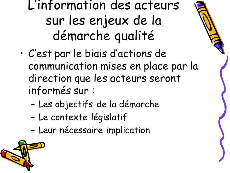 L'information des acteurs sur les enjeux de la démarche qualité