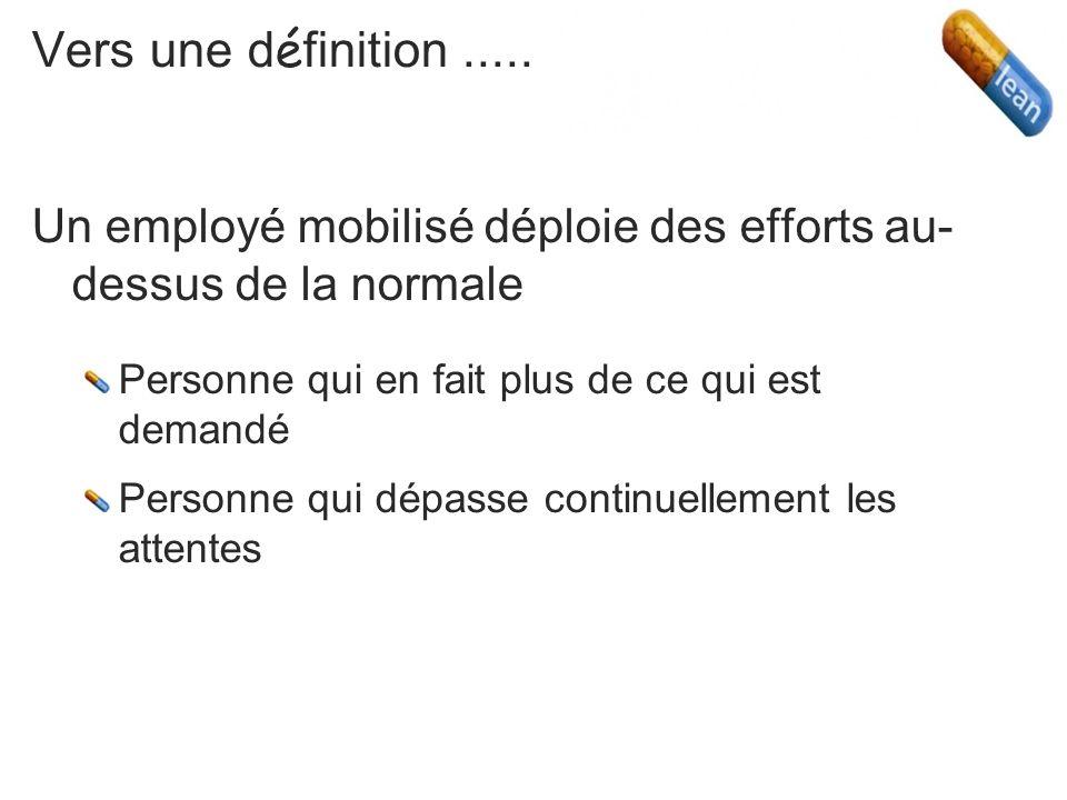 Vers une définition .....Un employé mobilisé déploie des efforts au-dessus de la normale. Personne qui en fait plus de ce qui est demandé.