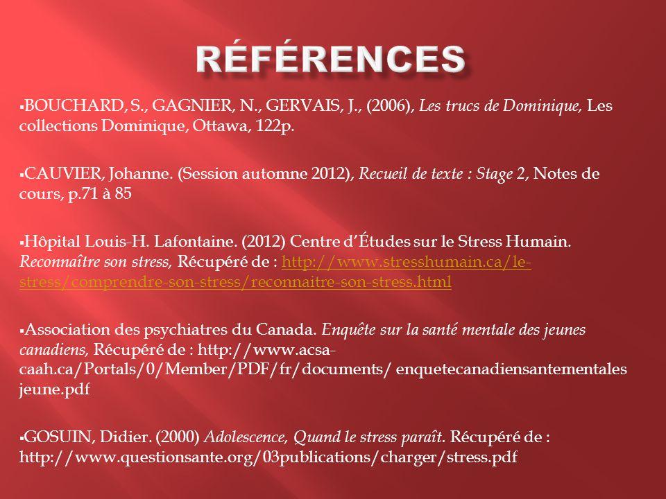 Références BOUCHARD, S., GAGNIER, N., GERVAIS, J., (2006), Les trucs de Dominique, Les collections Dominique, Ottawa, 122p.