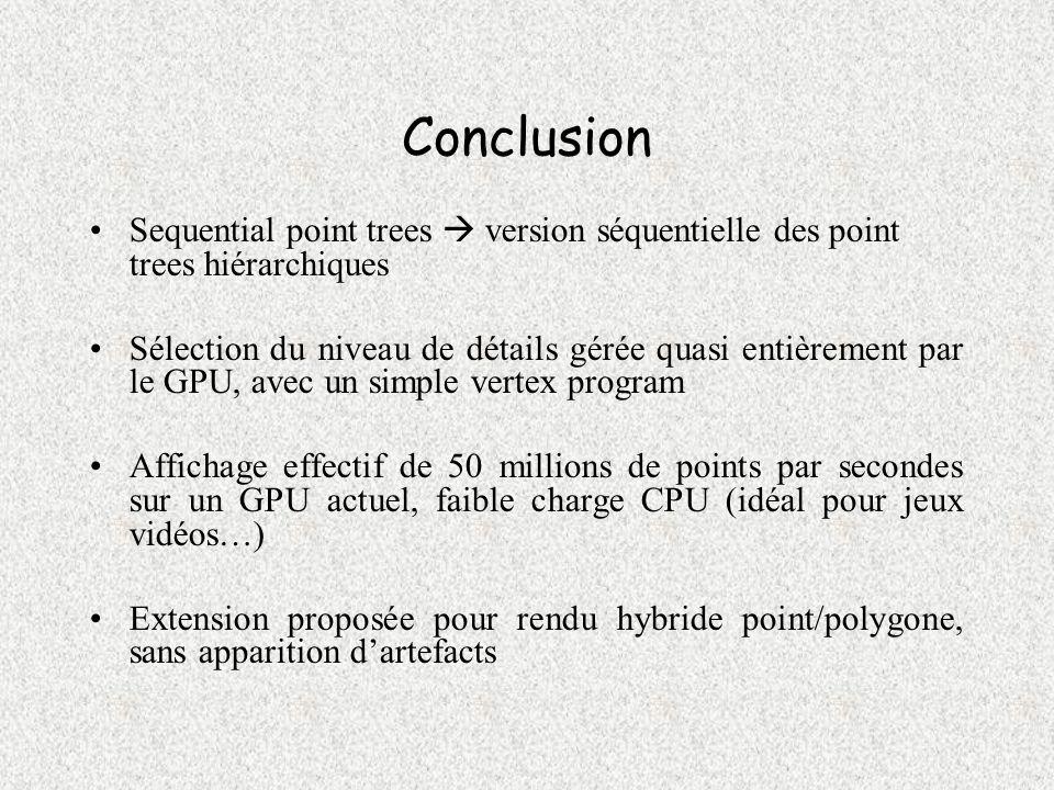 Conclusion Sequential point trees  version séquentielle des point trees hiérarchiques.