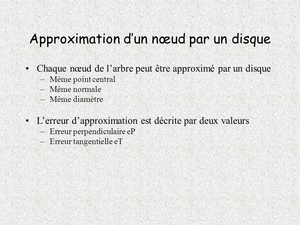 Approximation d'un nœud par un disque