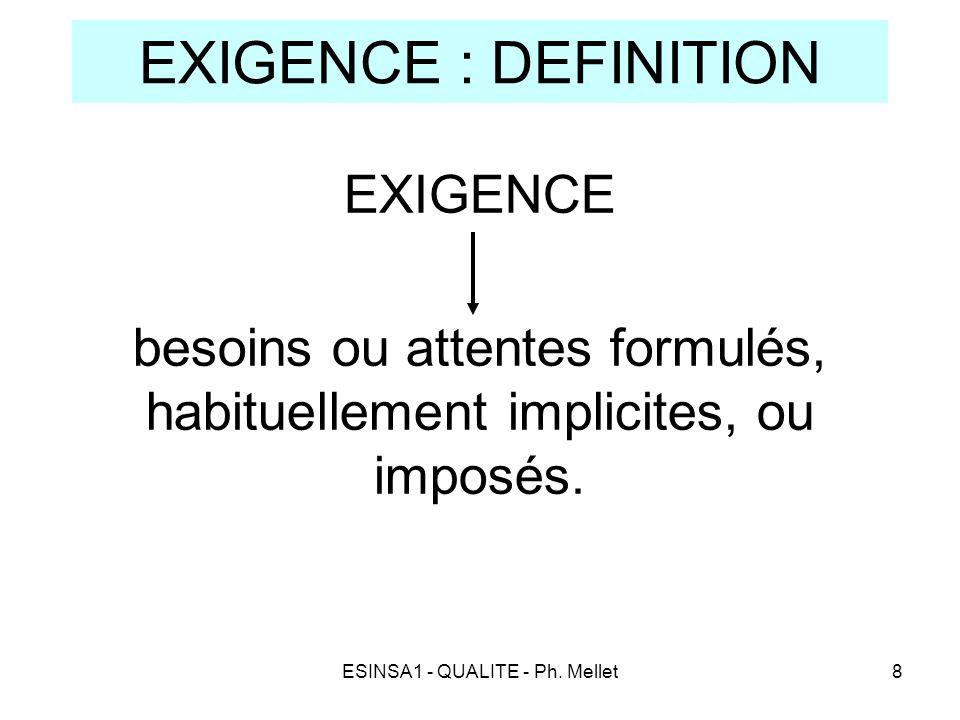 EXIGENCE : DEFINITION EXIGENCE