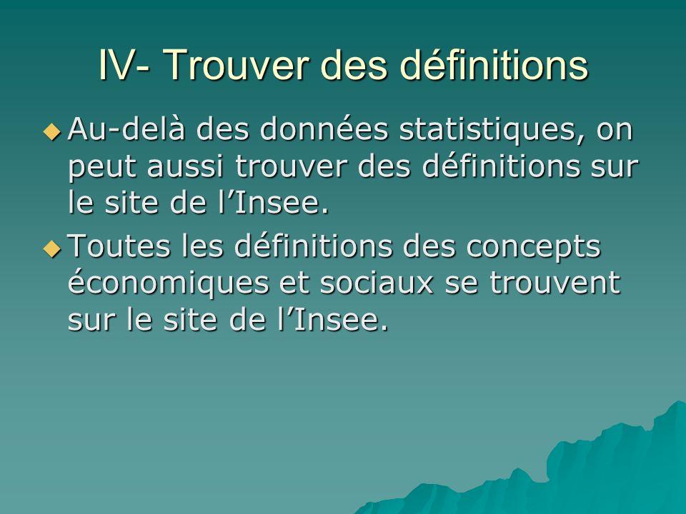 IV- Trouver des définitions