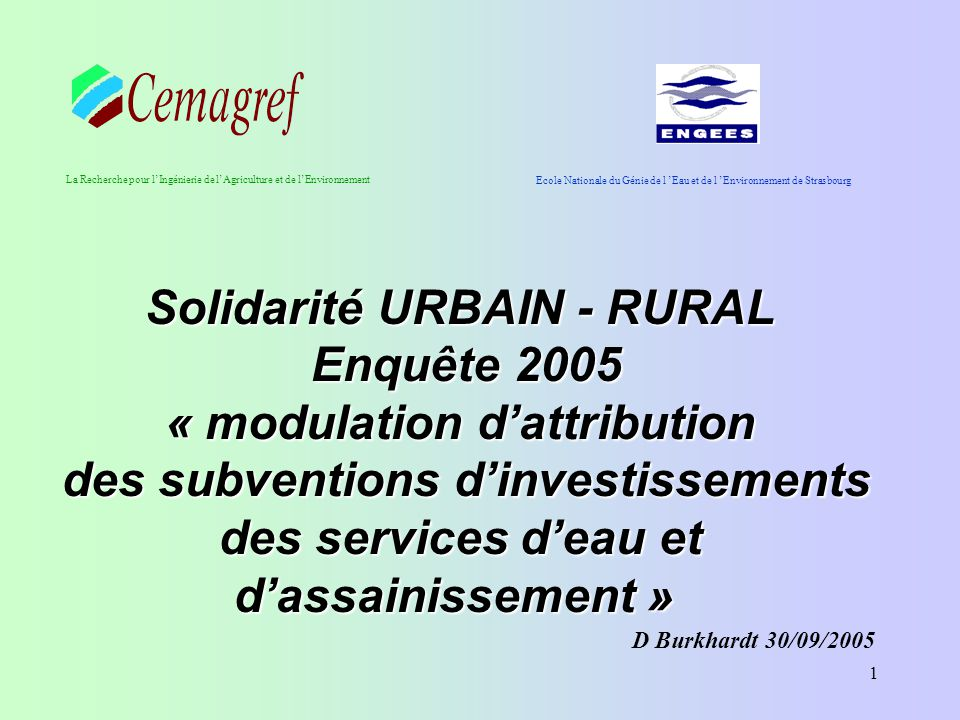 Solidarité URBAIN - RURAL « modulation d'attribution