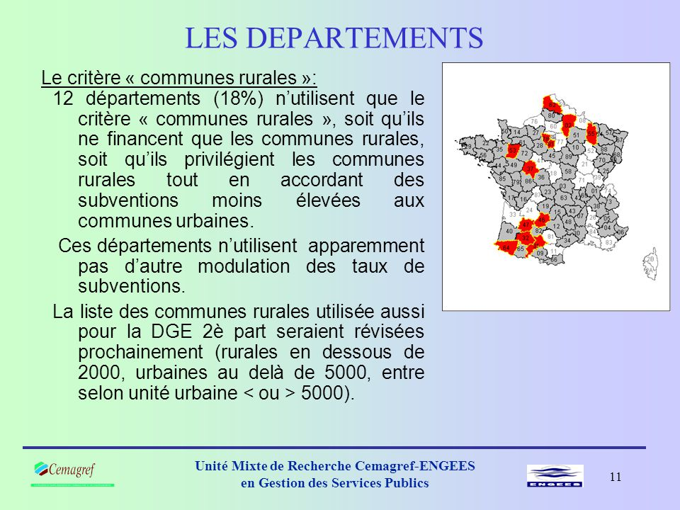 LES DEPARTEMENTS Le critère « communes rurales »: