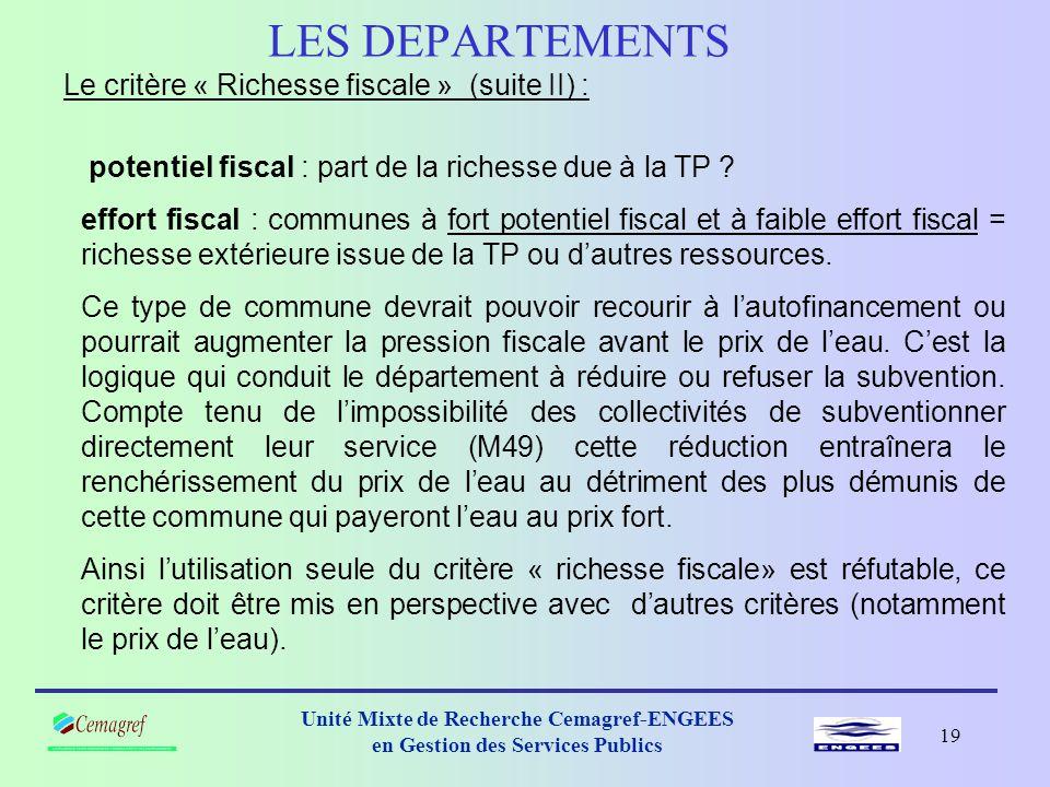 LES DEPARTEMENTS Le critère « Richesse fiscale » (suite II) :
