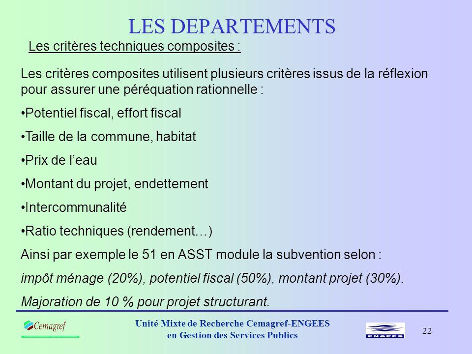 LES DEPARTEMENTS Les critères techniques composites :