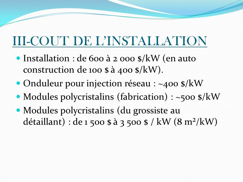 III-COUT DE L'INSTALLATION