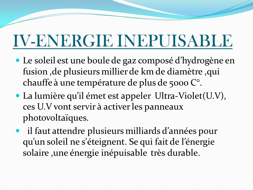 IV-ENERGIE INEPUISABLE