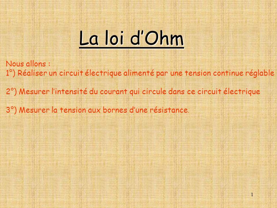 La loi d'Ohm Nous allons :
