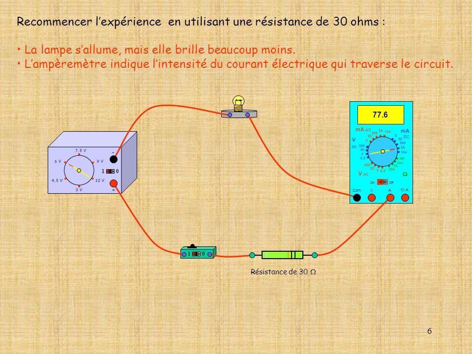 Recommencer l'expérience en utilisant une résistance de 30 ohms :