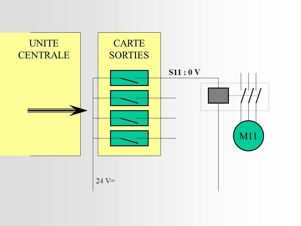 CARTE SORTIES 24 V= UNITE CENTRALE M11 S11 : 0 V