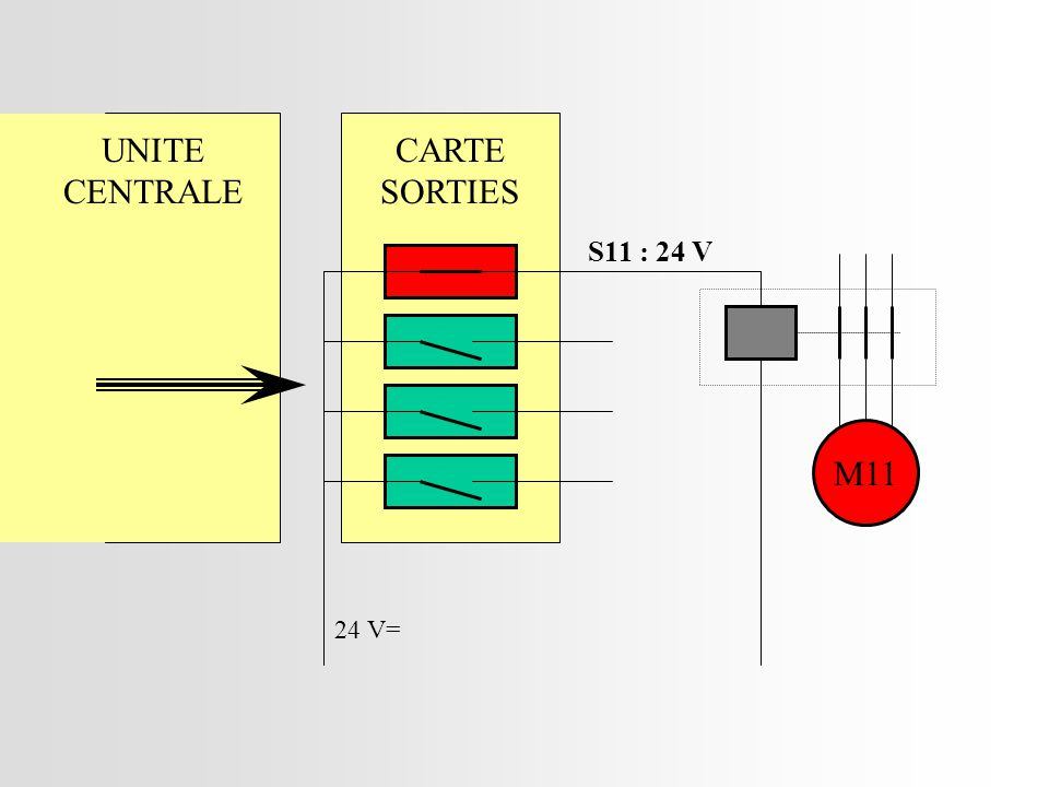UNITE CENTRALE CARTE SORTIES S11 : 24 V M11 24 V=