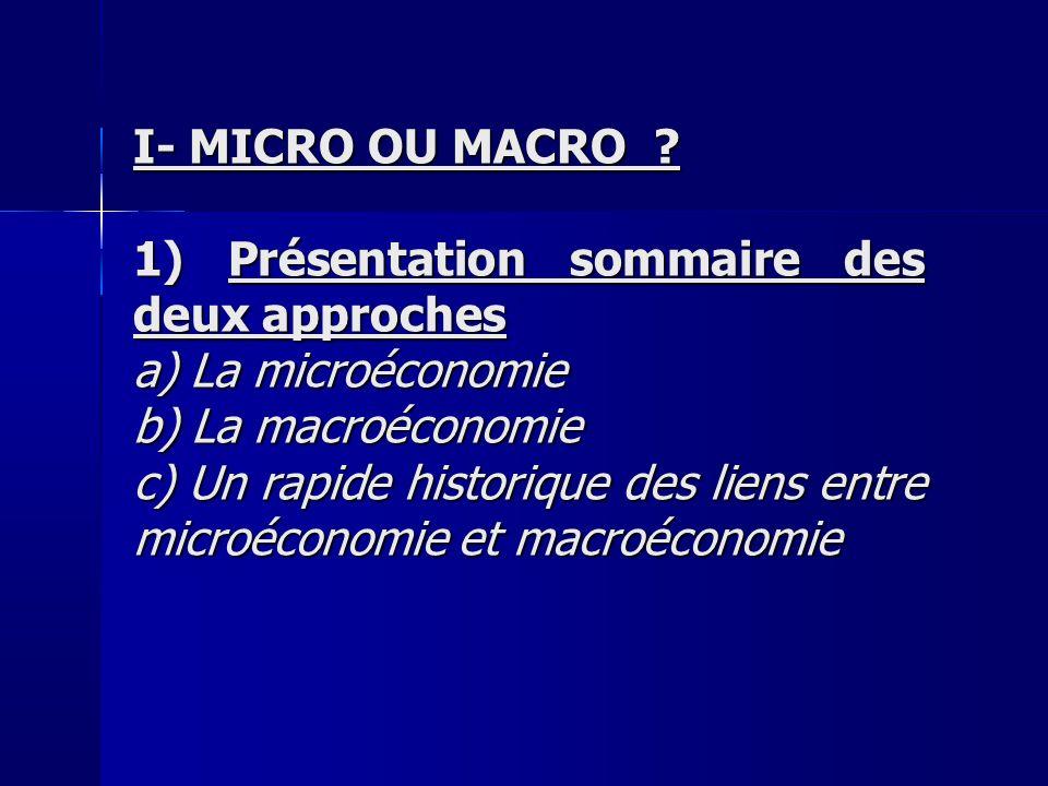 I- MICRO OU MACRO 1) Présentation sommaire des deux approches. a) La microéconomie. b) La macroéconomie.
