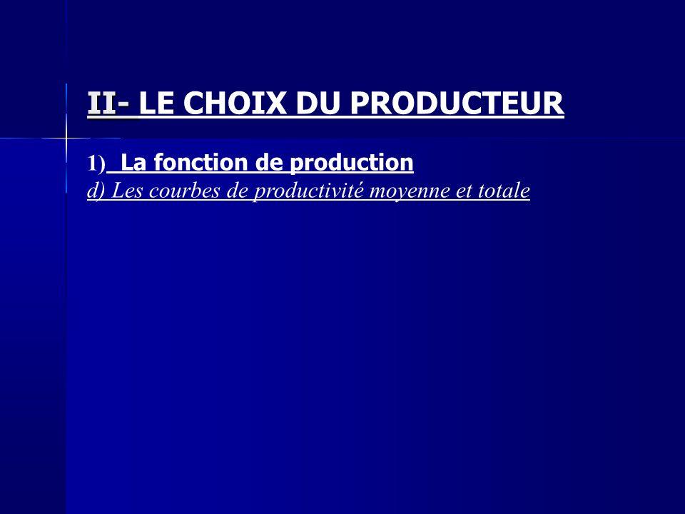 II- LE CHOIX DU PRODUCTEUR