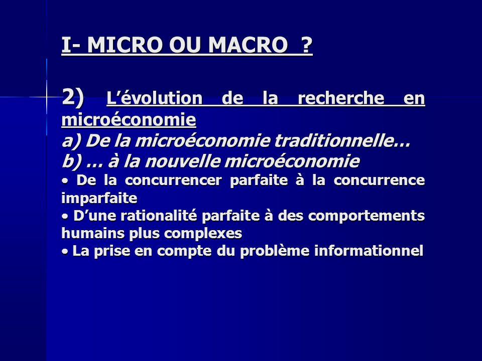 2) L'évolution de la recherche en microéconomie