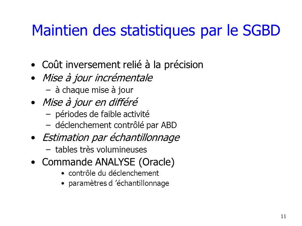 Maintien des statistiques par le SGBD