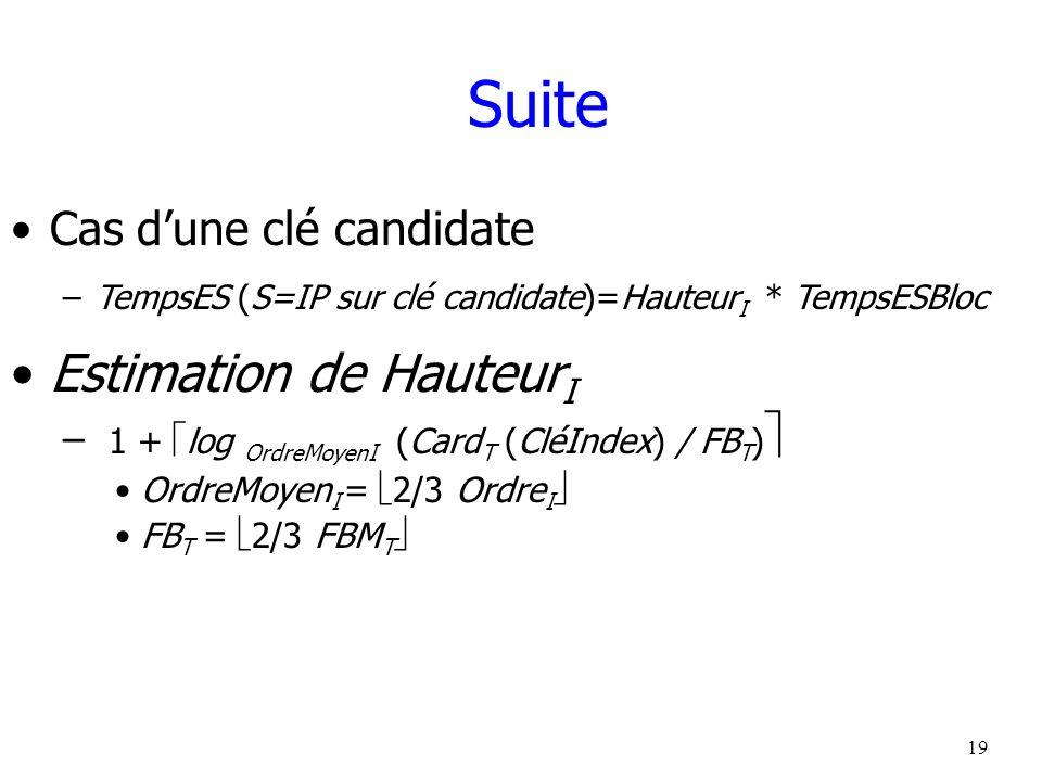 Suite Estimation de HauteurI Cas d'une clé candidate
