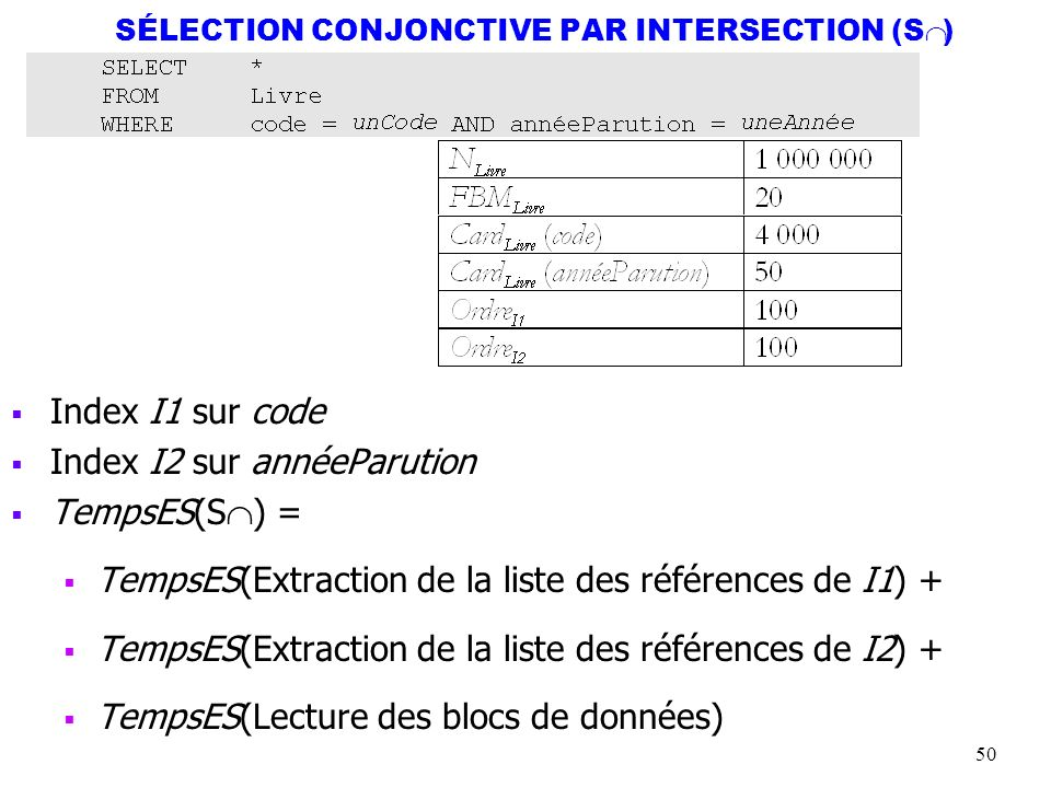 SÉLECTION CONJONCTIVE PAR INTERSECTION (SÇ)