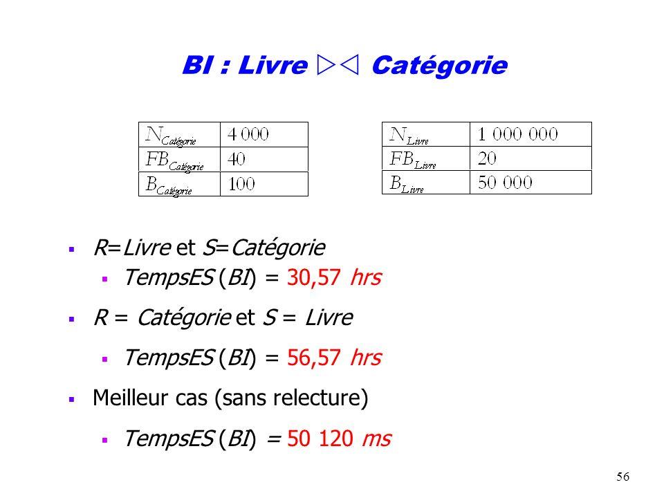 BI : Livre  Catégorie R=Livre et S=Catégorie