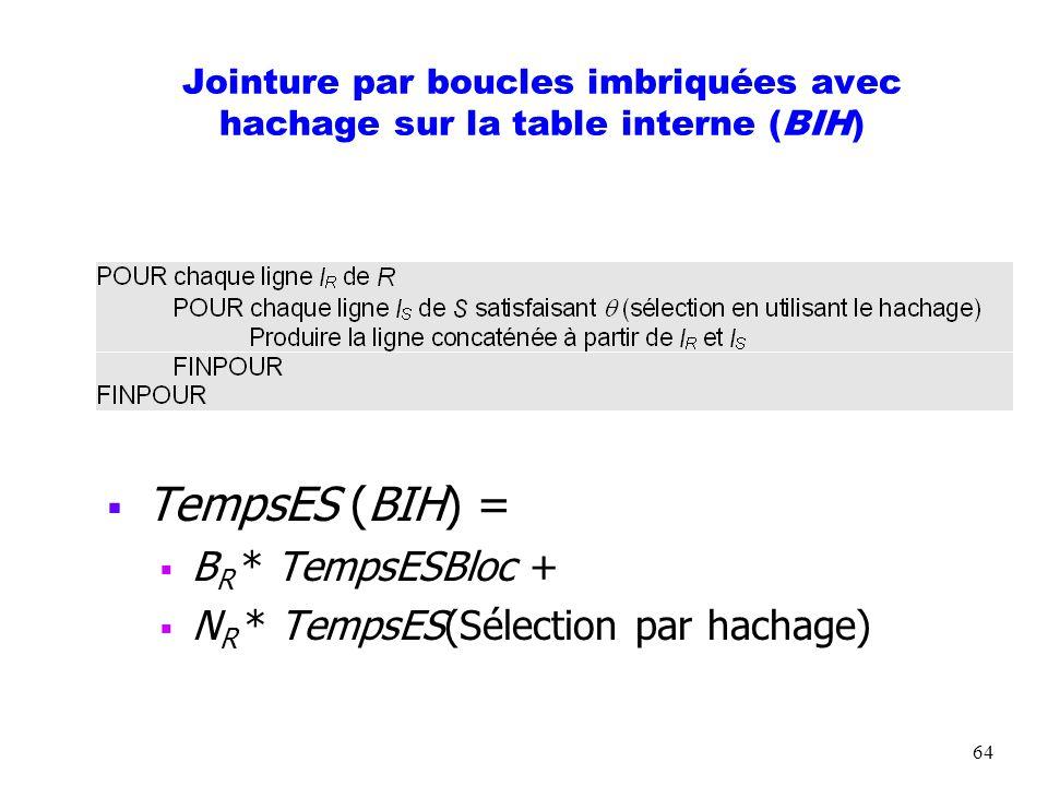 TempsES (BIH) = BR * TempsESBloc + NR * TempsES(Sélection par hachage)