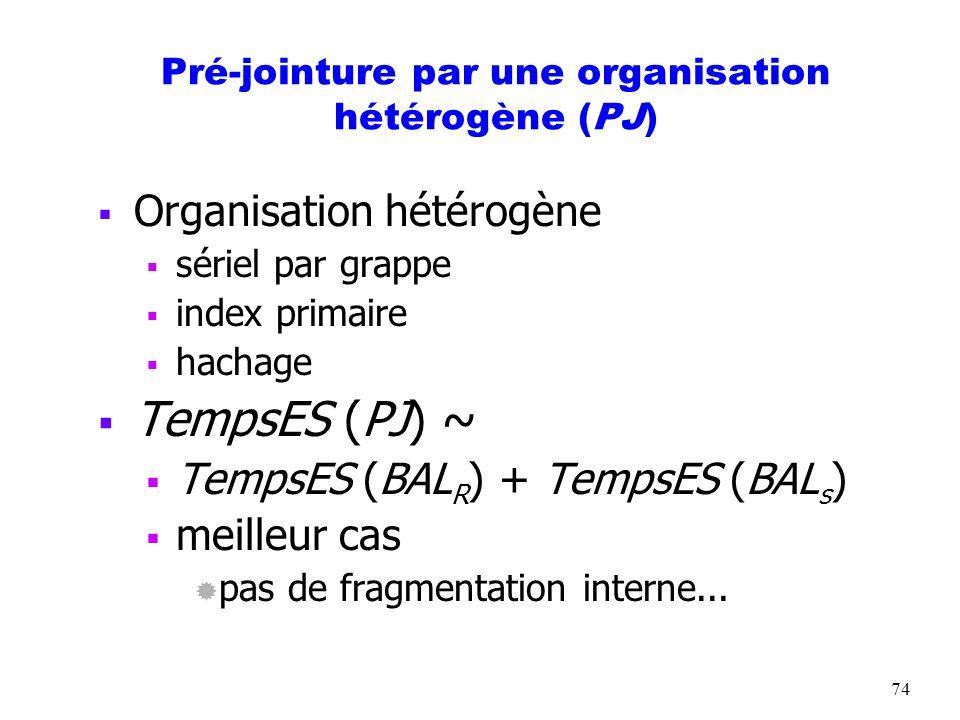 Pré-jointure par une organisation hétérogène (PJ)