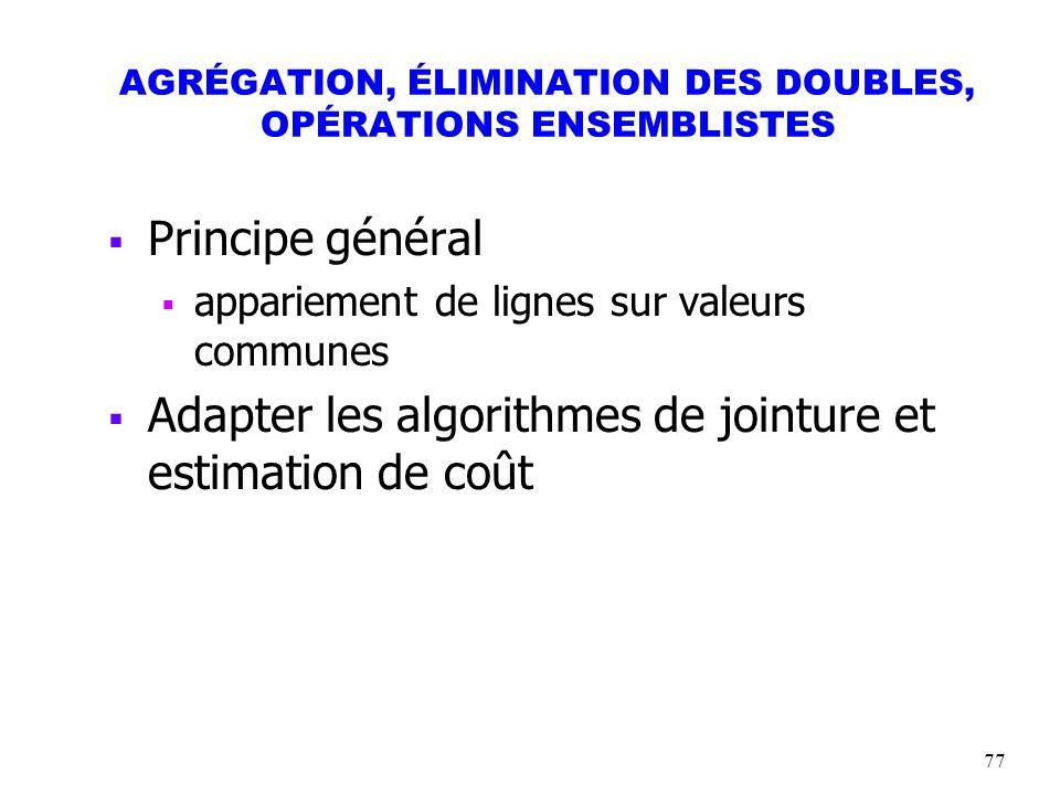 AGRÉGATION, ÉLIMINATION DES DOUBLES, OPÉRATIONS ENSEMBLISTES