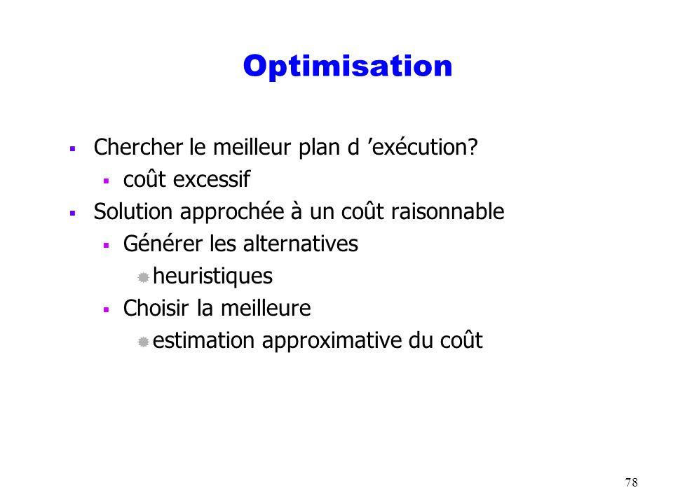 Optimisation Chercher le meilleur plan d 'exécution coût excessif