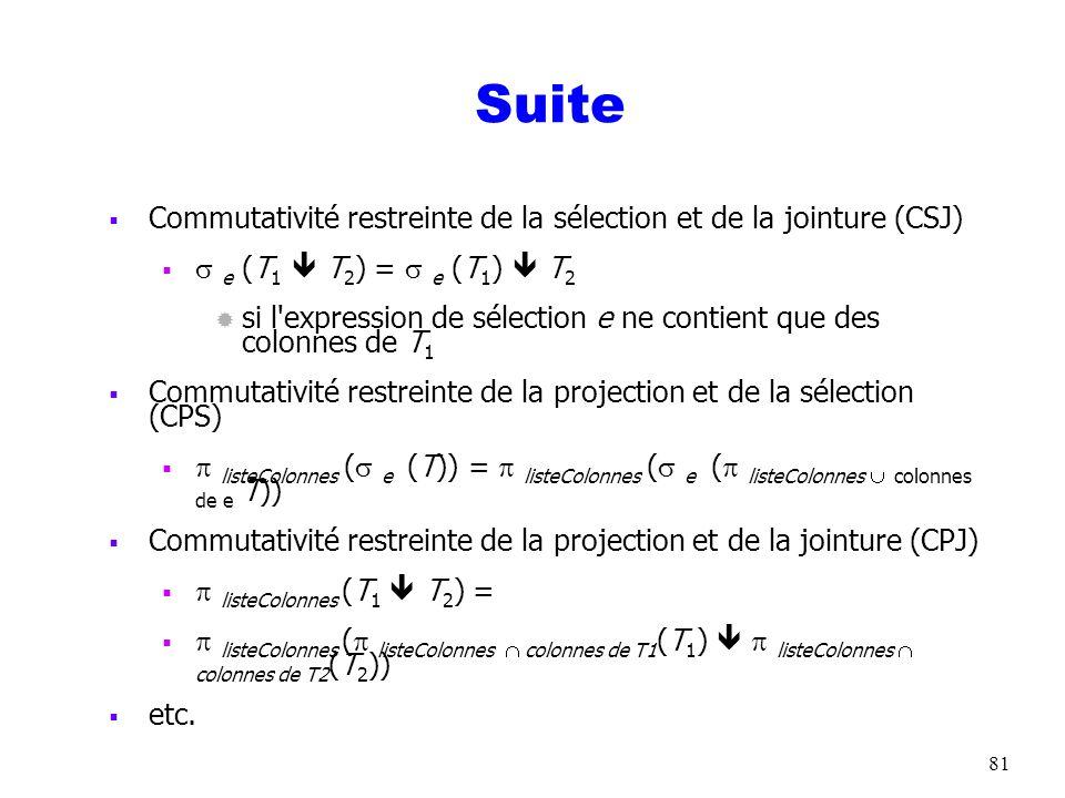 Suite Commutativité restreinte de la sélection et de la jointure (CSJ)