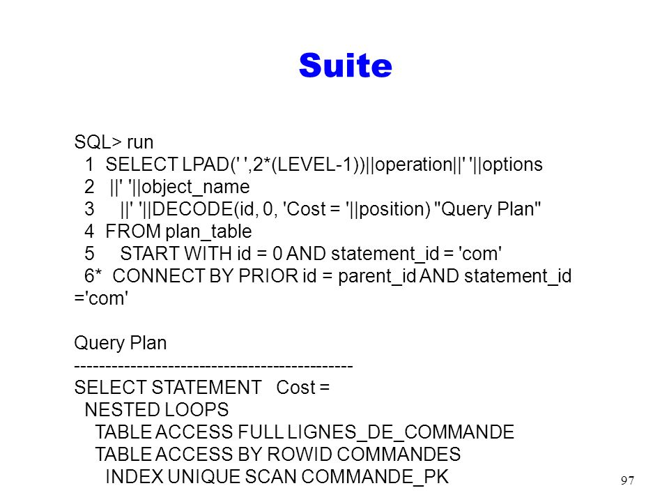 SuiteSQL> run. 1 SELECT LPAD( ,2*(LEVEL-1))||operation|| ||options. 2 || ||object_name.