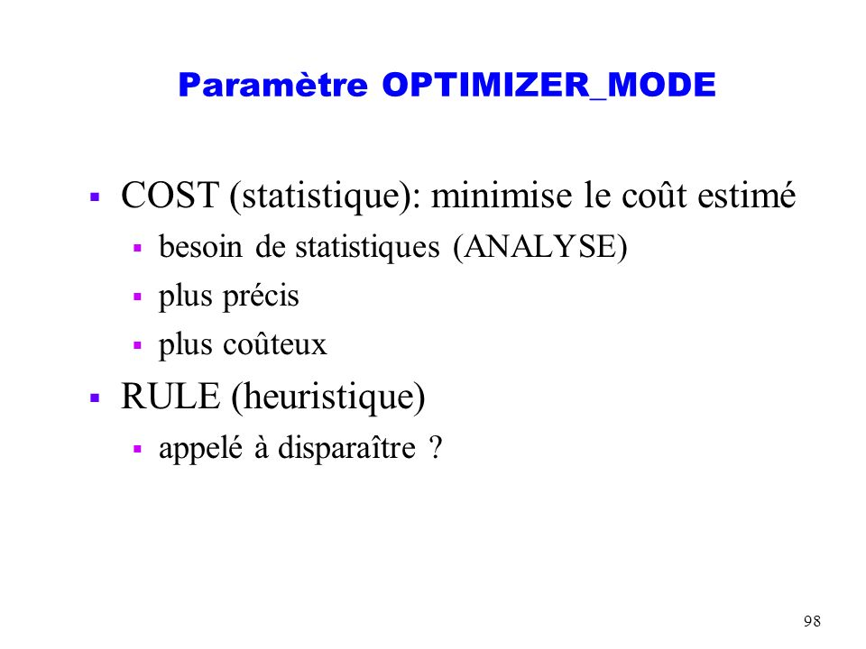 Paramètre OPTIMIZER_MODE
