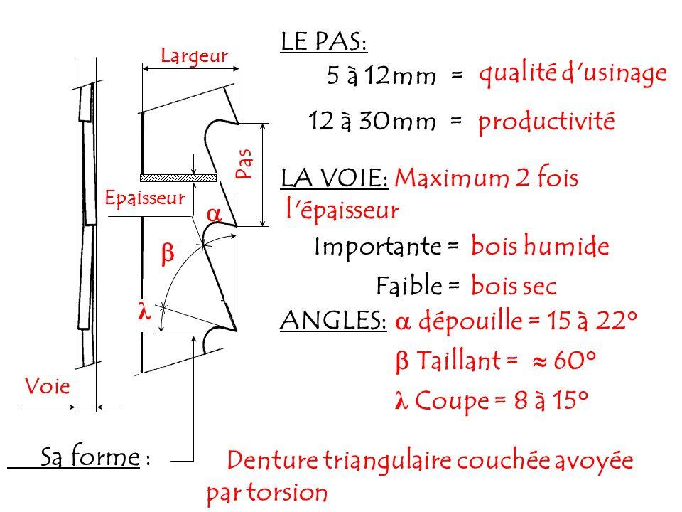 Maximum 2 fois l épaisseur  bois humide Importante =  Faible =