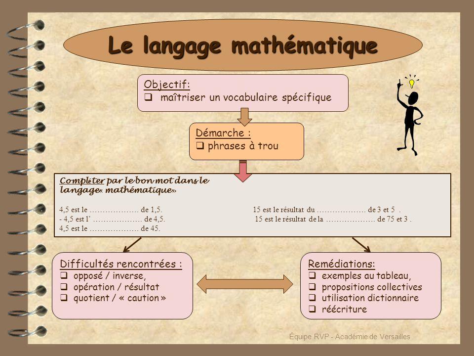 Le langage mathématique