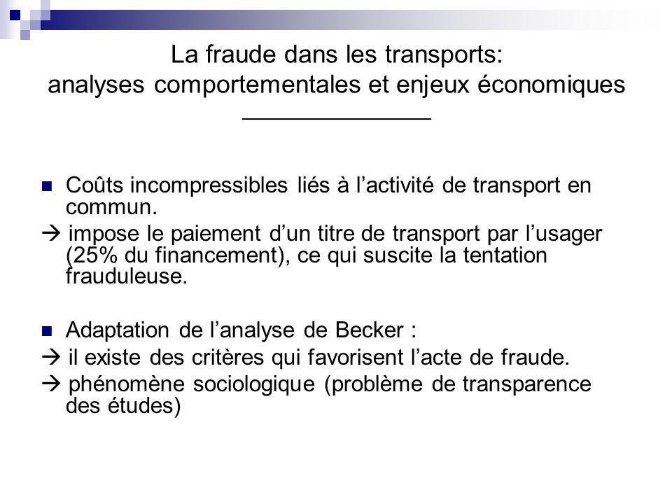 La fraude dans les transports: analyses comportementales et enjeux économiques __________________