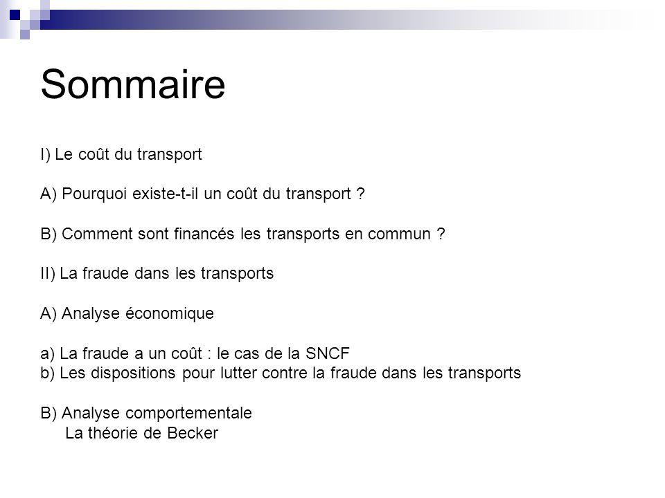 Sommaire I) Le coût du transport