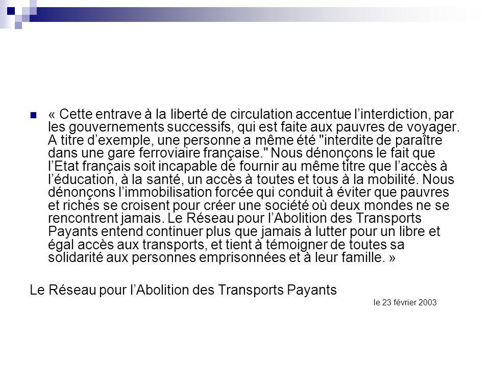Le Réseau pour l'Abolition des Transports Payants