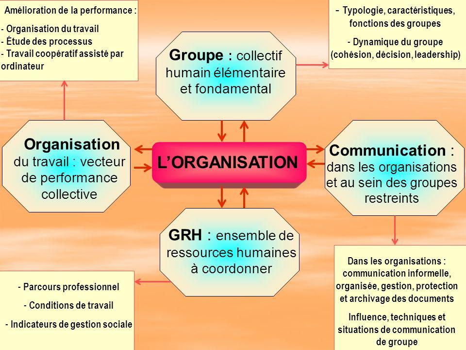 L'ORGANISATION Groupe : collectif humain élémentaire et fondamental