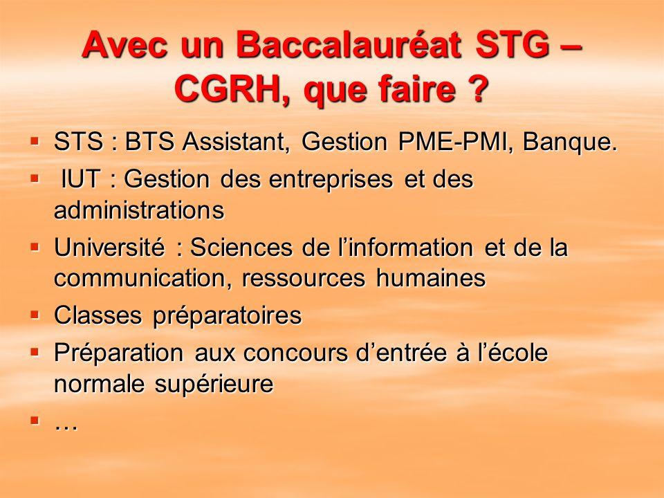 Avec un Baccalauréat STG – CGRH, que faire