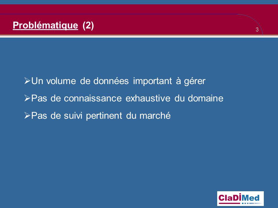 Problématique (2) Un volume de données important à gérer. Pas de connaissance exhaustive du domaine.