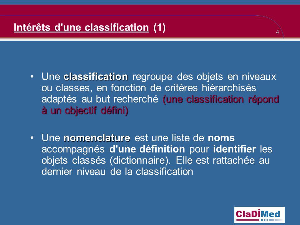 Intérêts d une classification (1)