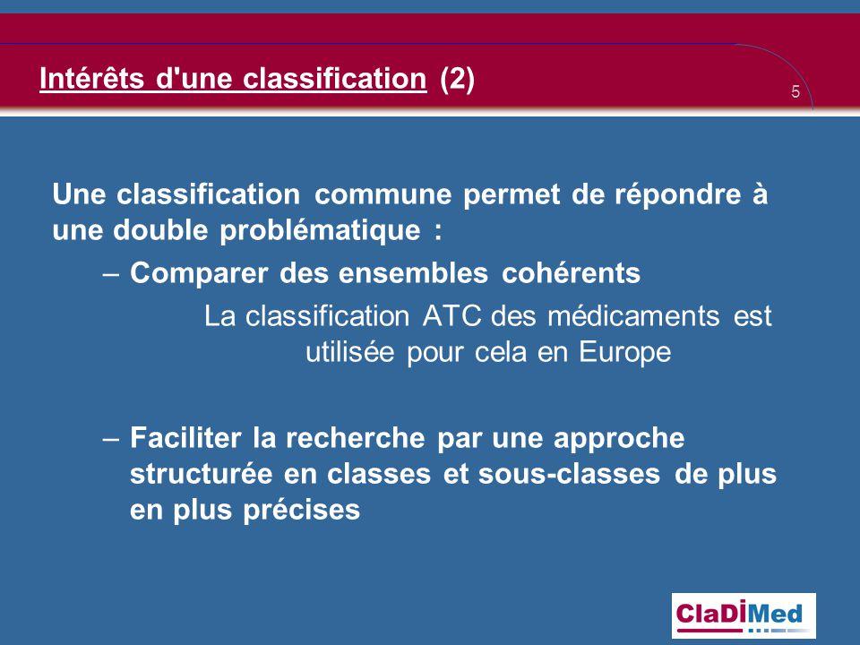 Intérêts d une classification (2)