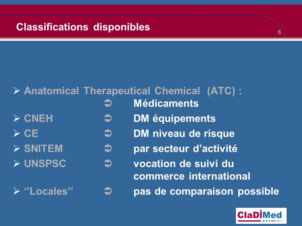 Classifications disponibles