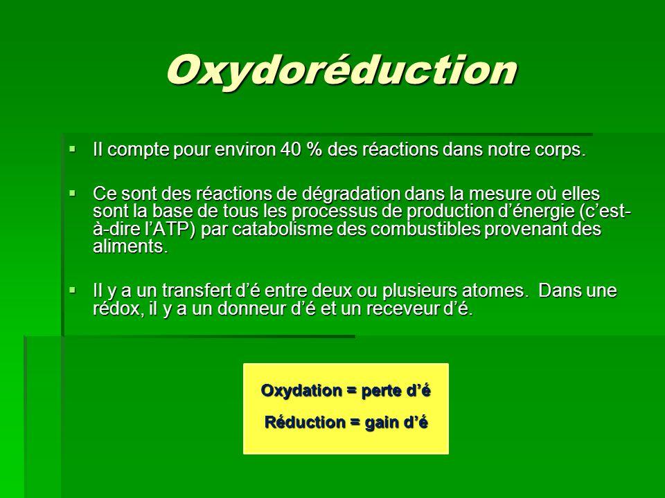 Oxydoréduction Il compte pour environ 40 % des réactions dans notre corps.