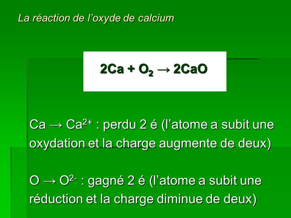 La réaction de l'oxyde de calcium