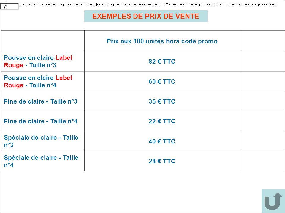 EXEMPLES DE PRIX DE VENTE Prix aux 100 unités hors code promo