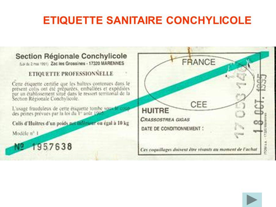 ETIQUETTE SANITAIRE CONCHYLICOLE