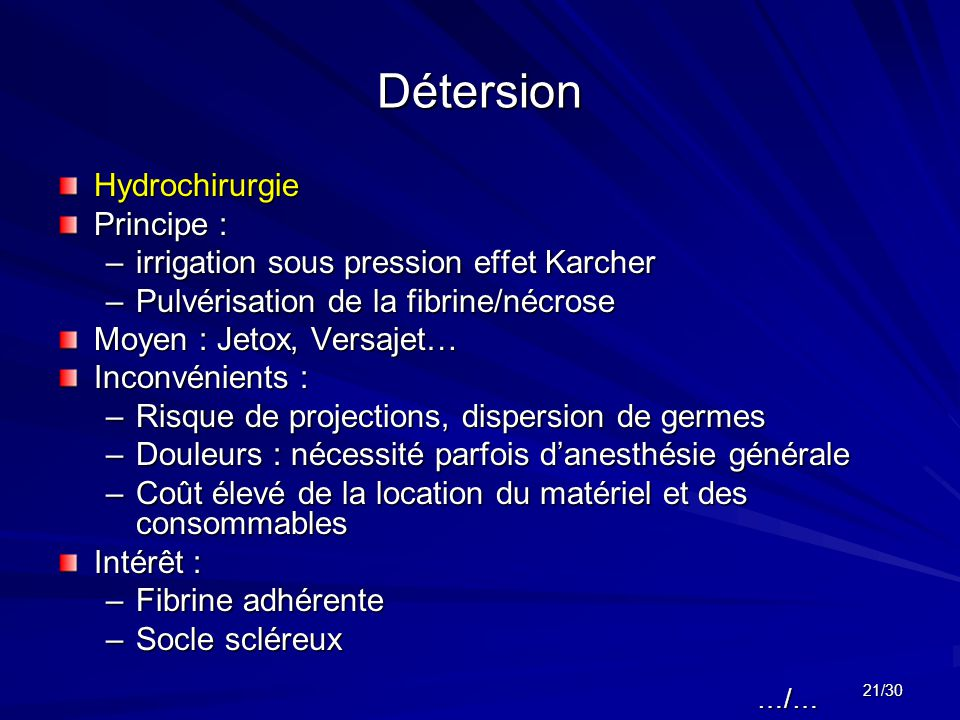 Détersion Hydrochirurgie Principe :