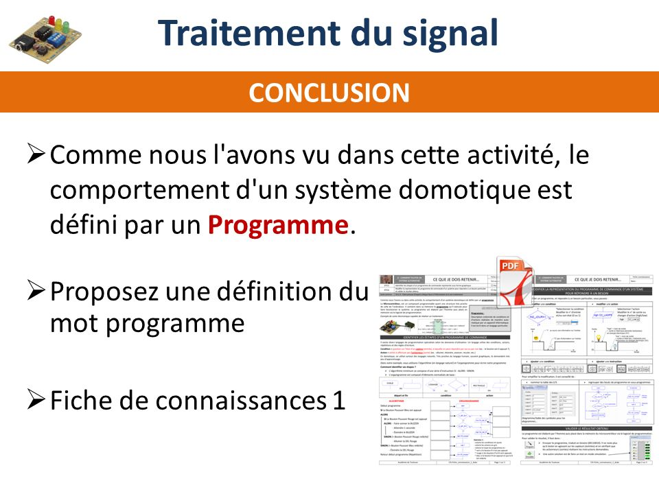 Traitement du signal CONCLUSION